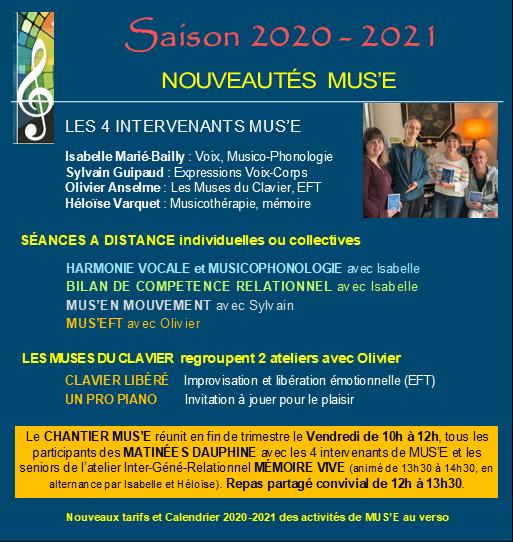 Saison 2020-2021 : Nouveautés MUS'E
